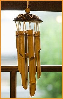 Wind chimes wind chime's bamboo and coconut (medium size), wind chimes, bamboo, bamboo wind chimes