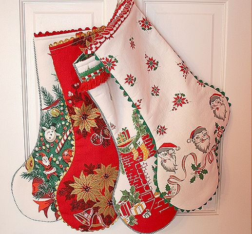 Use vintage table clothes and dishtowels to make stockings