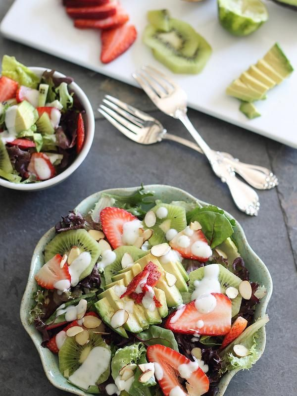 strawberry salad with avocados and a honey lime dressing