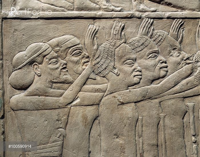 Egyptian civilization, New Kingdom, Dynasty XVIII. Relief depicting foreign princes paying homage to Tutankhamen. Relief. From the tomb of Haremhab at Saqqara.