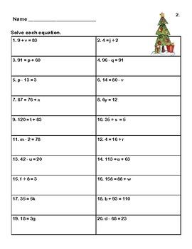 Solving Equations All Four Operations Grade 6 Christmas Theme