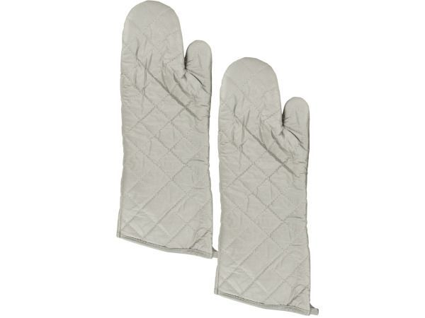 "Large Silver Oven Mitts Set, 72 - Protect your hands while cooking and moving hot items with this Large Silver Oven Mitts Set featuring a pair of quilted heat and water-resistant mitts with cotton filling and non-woven synthetic lining. Mitts have hanging loops on cuffs for easy storage. Each mitt measures approximately 17"" long x 6.5"" wide. Comes packaged in a poly bag.-Weight: 1/unit"