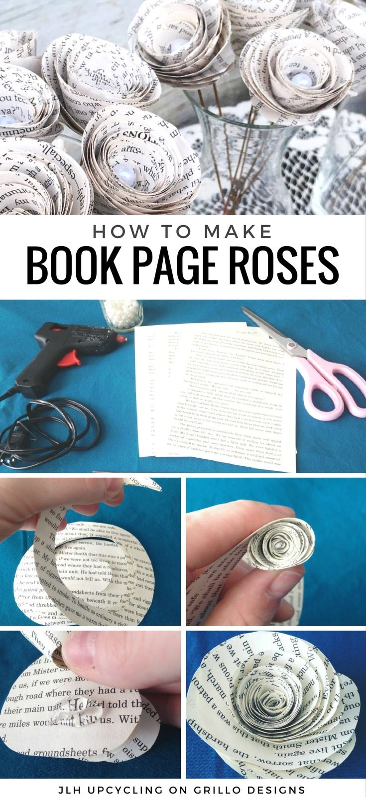 Book page roses tutorial - Jen Holz from JLH UPCYCLING shares how to create gorgeous roses from pages (great for flower bouquet or wedding centerpieces!)