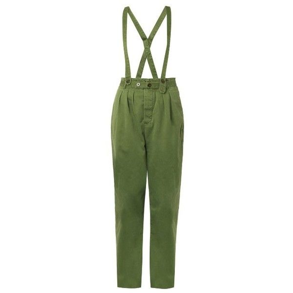 Marc By Marc Jacobs Detachable-braces cotton-canvas trousers (£167) ❤ liked on Polyvore featuring pants, dark green, tapered pants, dark green pants, green pants, cotton canvas pants and marc by marc jacobs