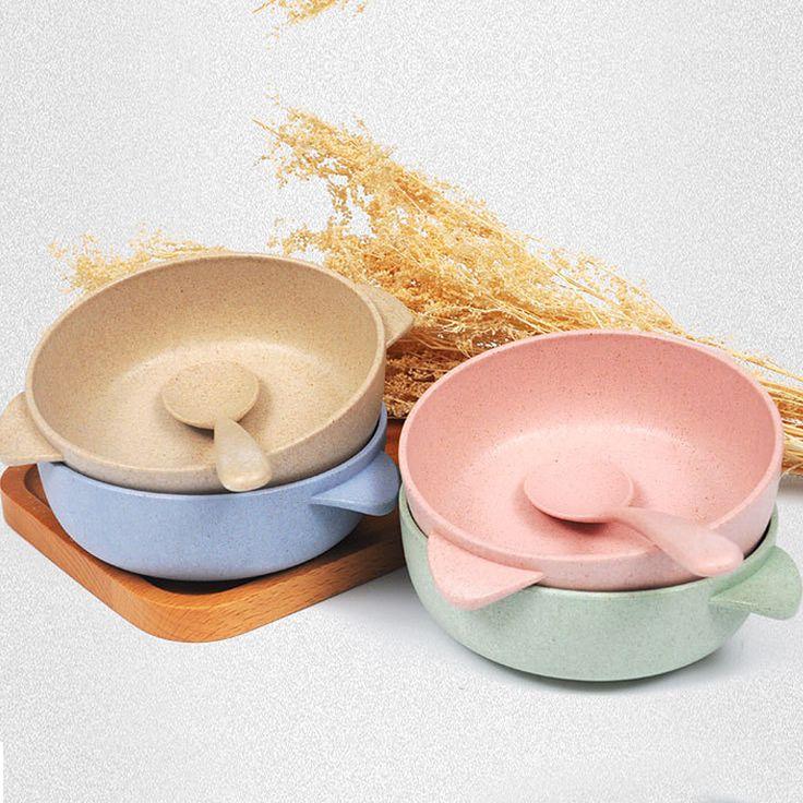 Aliexpress.com : Buy Hight Quality 2pcs Toddler Baby Kids Child Feeding  Training Bowl Spoon,Binaural Baby Feeding Bowl Tableware Children Plate  Bowl From ...