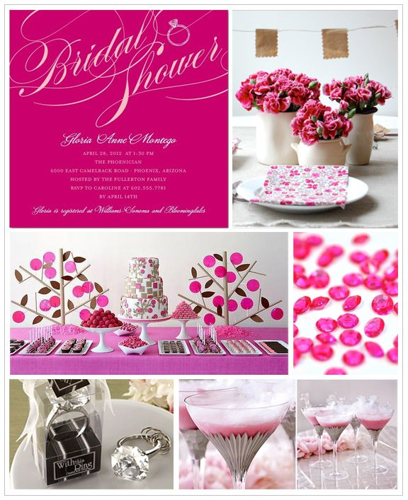 Beautiful Bright Pink Bridal Shower Invites | Wedding Paper Divas