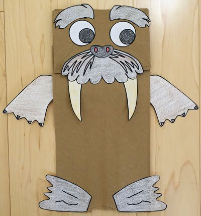 Walrus paper bag puppet | Ocean Commotion | Paper bag ...