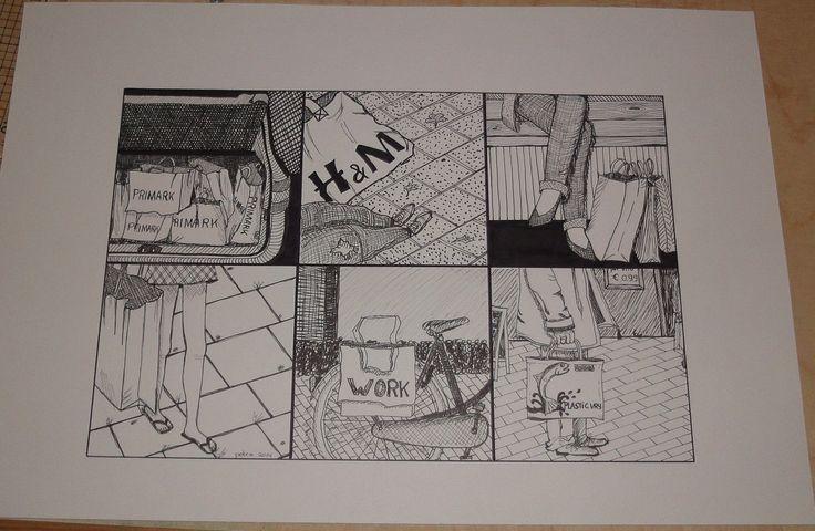 Zesluik  geinspireerd door Elske Berndes, z-w met stift, lijnen en stippen, onderwerp 'tassen overal'