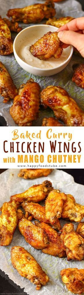 Oven Baked Curry Chicken Wings with Mango Chutney. These tender chicken wings are marinated in mango chutney marinade and baked to perfection. How to make baked chicken wings via @happyfoodstube