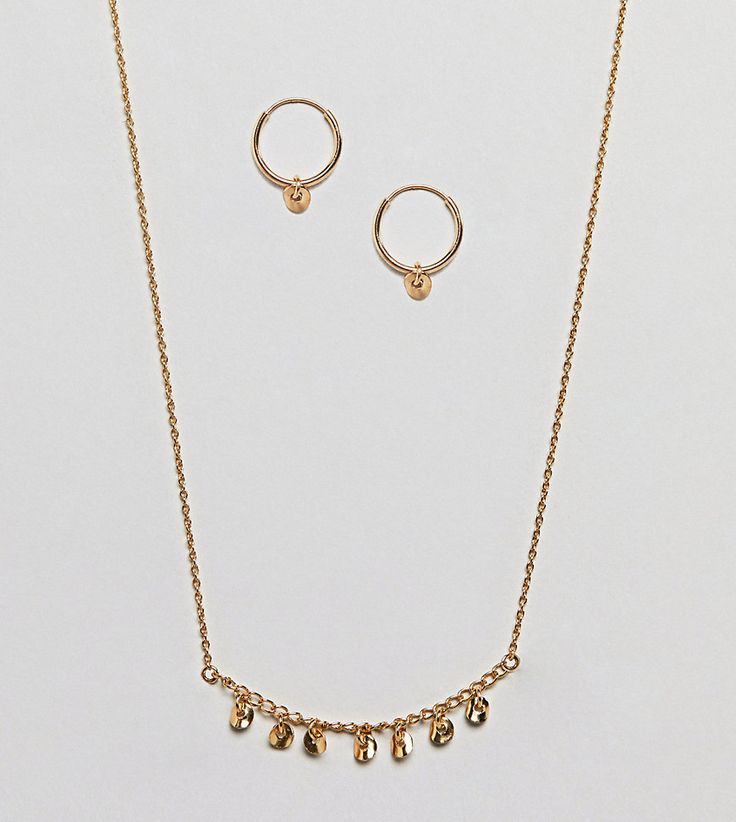 ASOS Gold Plated Sterling Silver Gift Set with Disc Hoop Earrings & Ch