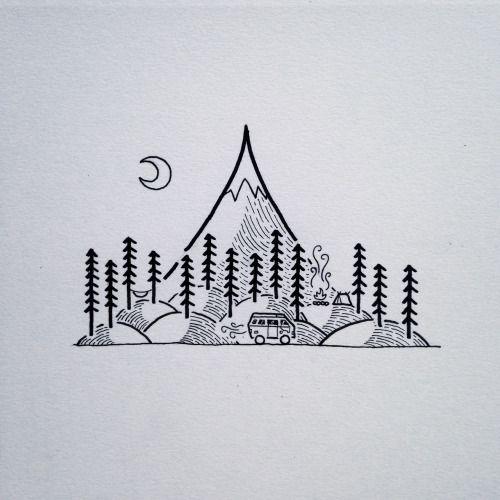Dibujo minimalista montañas. árboles y luna