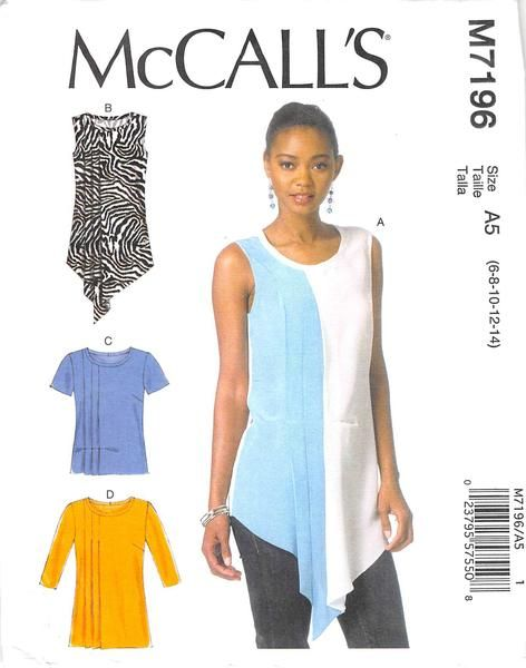 MCCALLS 7196 - FROM 2015 - UNCUT - MISSES TOP & TUNIC
