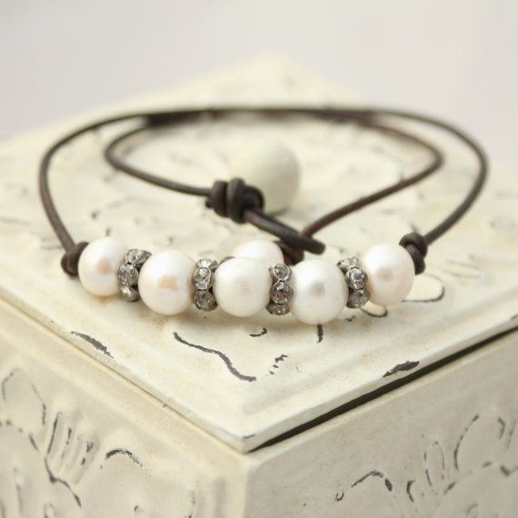 Leather and Pearl Necklace White Pearl and by LaliJewelryShop, $60.00