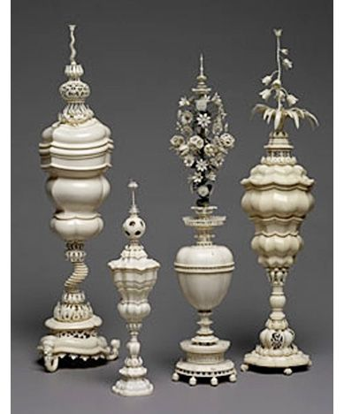 Ornamental Vases and Goblets, lathe-turned ivory, 1618-1664.  Marcus Heiden (active from 1618-1664)