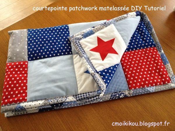 TUTO en photos couverture molletonnée en patchwork sur cmoikikou