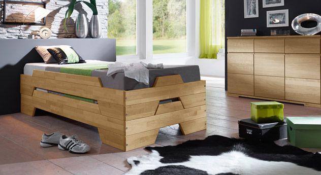 Stapelliege, perfekte Lösung für Übernachtunsgäste! | Betten.de #gästebett #gästezimmer #kinderbett http://www.betten.de/stapelbett-biologisch-geoelt-buche-2er-set-tervo.html