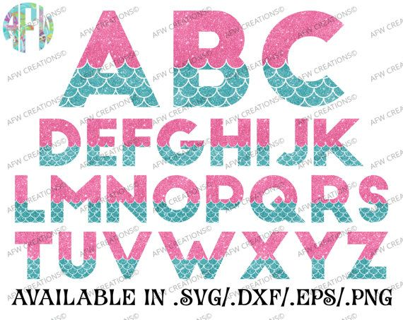 Digital Cut Files, Mermaid Letters, SVG, DXF, EPS, Alphabet, Sea, Ocean, Summer, Beach, Nautical, Font, Vinyl, Silhouette, Cricut, Vector