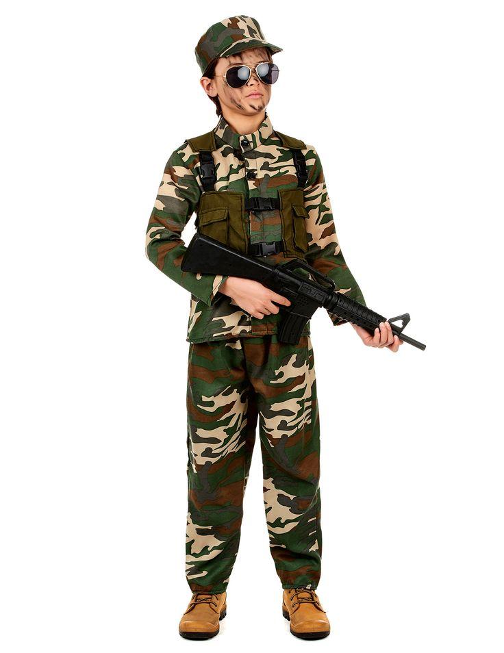 Disfraz de soldado para niño: Bonito disfraz de soldado para niño. Incluye una camisa, una gorra, un chaleco y un pantalón. Perfecto para carnavales y fiestas de disfraces.