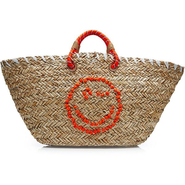 Anya Hindmarch Wink Straw Basket Tote ($540) ❤ liked on Polyvore featuring bags, handbags, tote bags, beige, beach tote, straw handbags, pocket tote, top handle handbags and straw tote beach bag