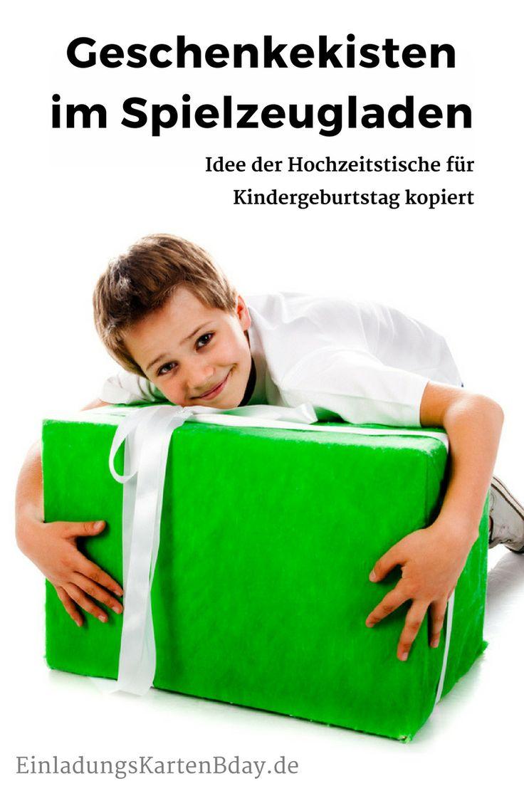 Geschenkekisten im Spielzeugladen – Idee der Hochzeitstische für #Kindergeburtstag kopiert #Wunschzettel