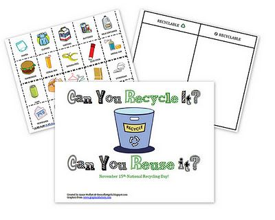 some printables that will help teach children what can and what can NOT be recycled.