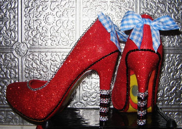 wizard of oz ruby red high heel shoes with rhinestones and yellow brick road soles by STEAMHATTER on Etsy