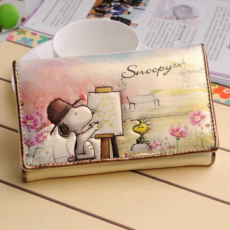 PU clip de carpeta de la historieta Snoopy SNOOPY billetera doble cartera corta de diseño de las mujeres