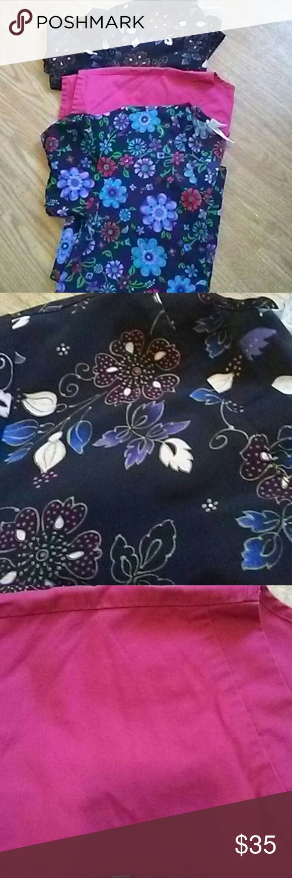 Lot of 3 Scrub tops Very good used condition and super adorable. The one with the brighter flowers can be drawn in and tied in the back. The two darker tops are Cherokee brand and the pink one is basic editions. No stains, rips or tears. Cherokee Tops