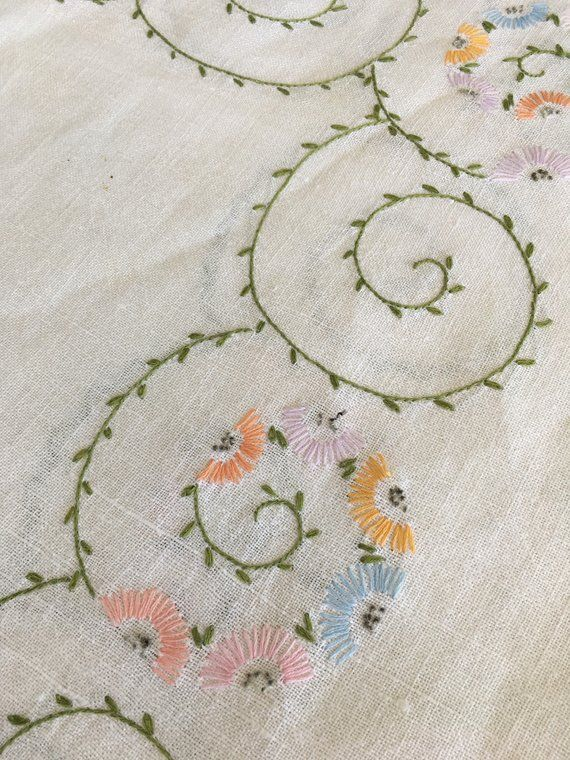 linen table cloth hand embroidery embroidered tablecloth floral embroidery square linen tablecloth Vintage linen tablecloth