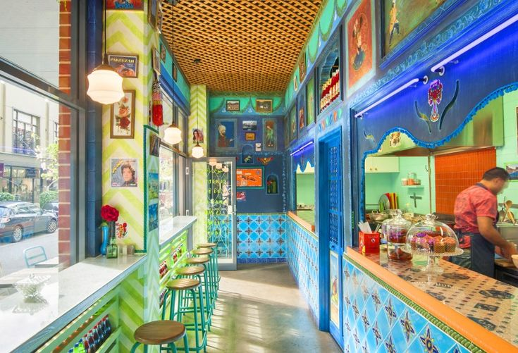 Colour + pattern + light = a happy vibe in this colourful little restaurant.