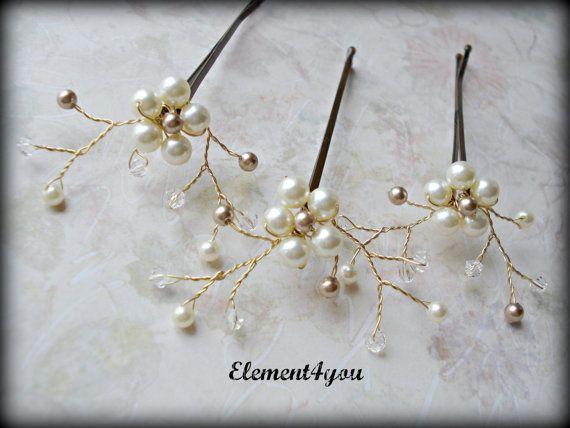 Bridal Flower Bobby Pins, Swarovski Ivory Champagne pearl, Wedding Accessories, Pearl hair clips, Gold, Bridesmaid hair do, Pearl hair piece via Etsy