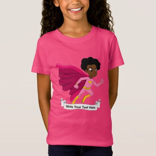 Custom running superhero girl cartoon T-Shirt