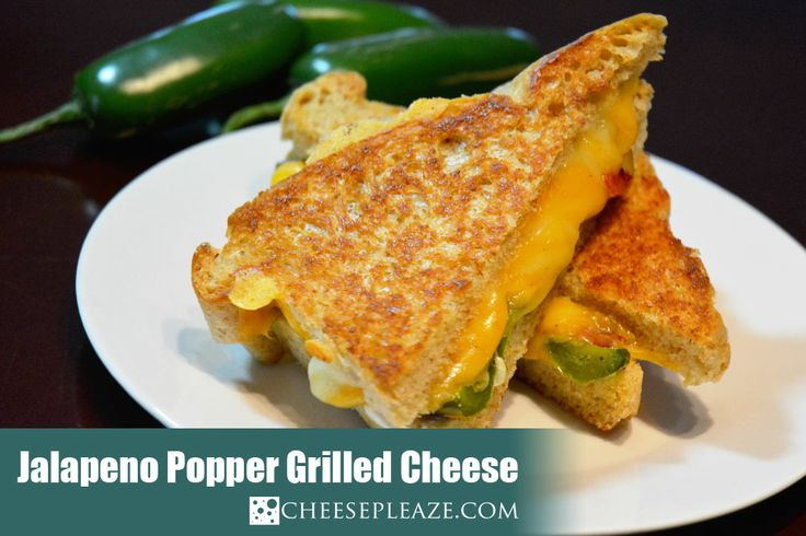 Jalapeno Popper Grilled Cheese filled with Monterey, Cheddar and Bacon ~ Yum! via www.cheesepleaze.com