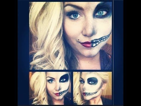 Half pin up, Half skeleton Halloween makeup tutorial