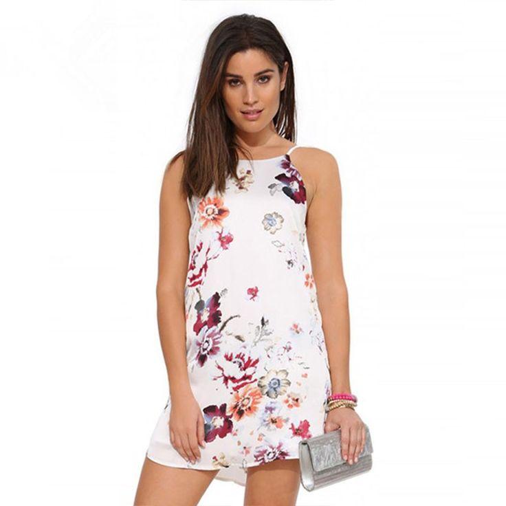 Vestido Floral Casual Curto Branco Feminino
