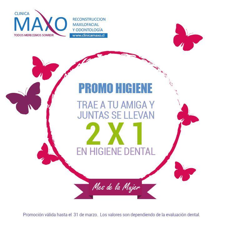 """En Maxo, no nos conformamos con un solo día para la Mujer, así que le dedicaremos el mes completo!!  Ven a Clínica Maxo con tu amiga, mama, tía, prima, hija y aprovecha el 2x1 dedicado a ellas.  """"PROMOS EN HIGIENE Y TERCEROS MOLARES""""    """"Llámanos y pide tu cita"""".      Mail: info@clinicamaxo.cl / Teléfonos: +569 61281650 - 22317305   #salud #saluddental #clinicamaxo #FelizDiaDeLaMujer #promocion #2x1"""