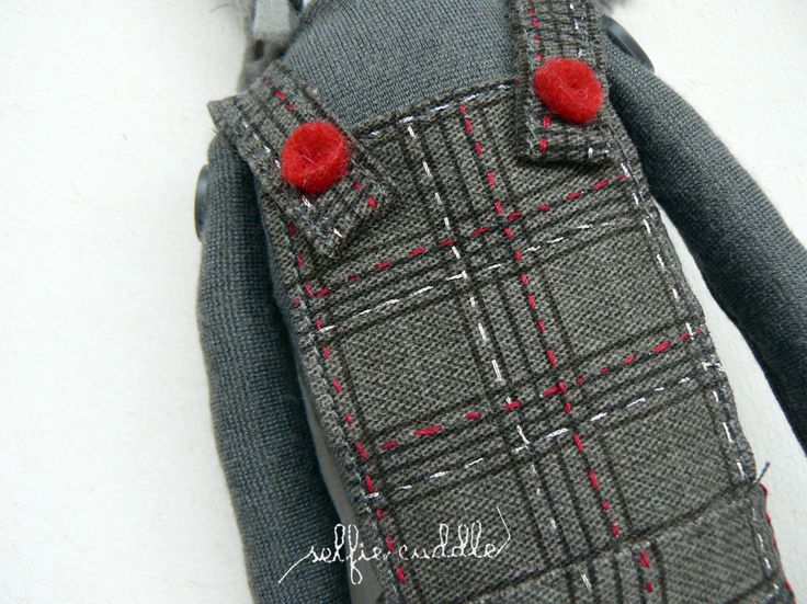 personalised handmade fabric doll with printed face, overall detail