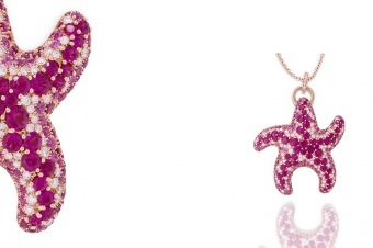 Gismondi Jewellery 1754 Starfish in rose gold 18Kt with pink sapphires and natural white diamonds