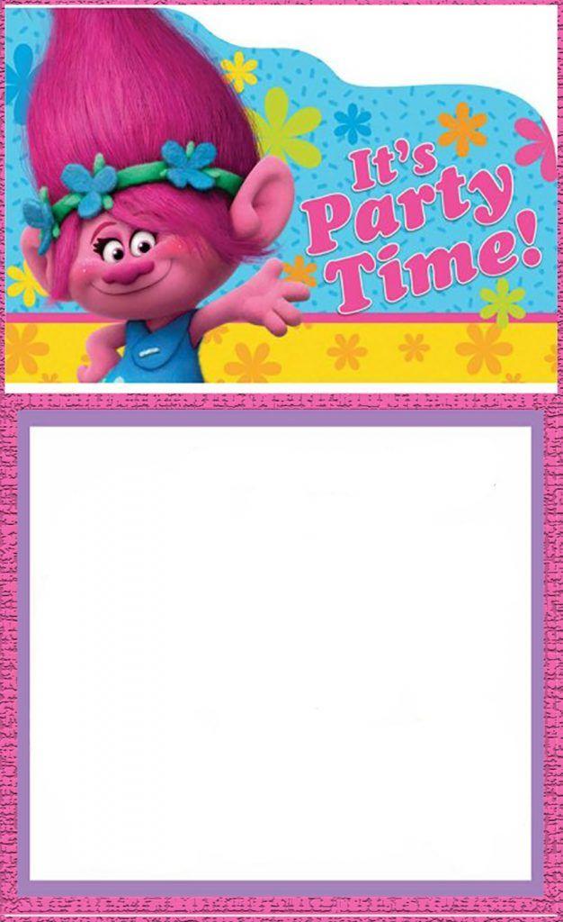 Free Printable Trolls Invitation Card