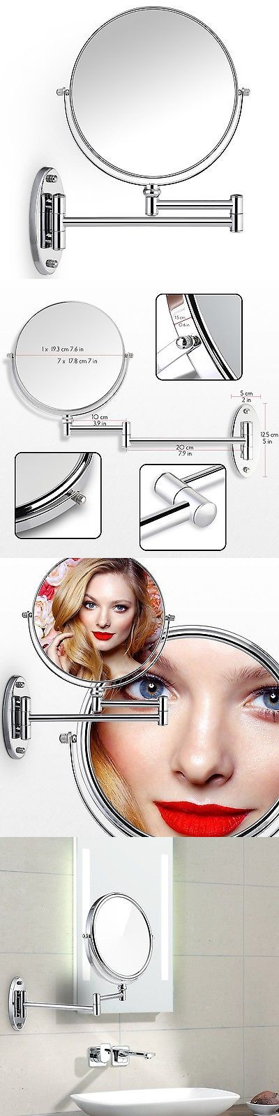 Makeup Mirrors: Miusco 7X Magnifying Two Sided Vanity Makeup Mirror Wall Mount Round Chrome -> BUY IT NOW ONLY: $31.21 on eBay!