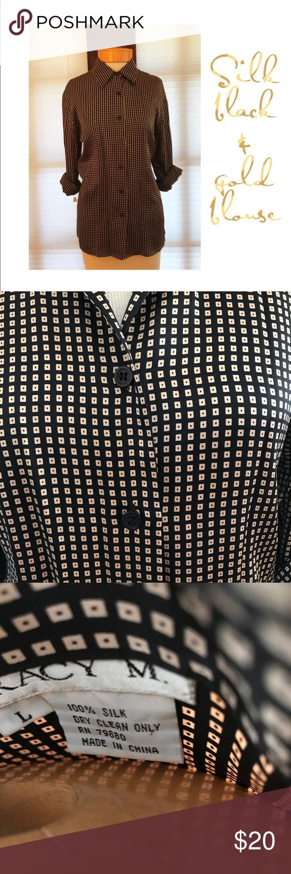 💼100% silk long sleeved blouse w/black and gold Excellent condition. All buttons accounted for, black with gold squares long sleeved blouse. Attractive blouse. Tracy M Tops Blouses