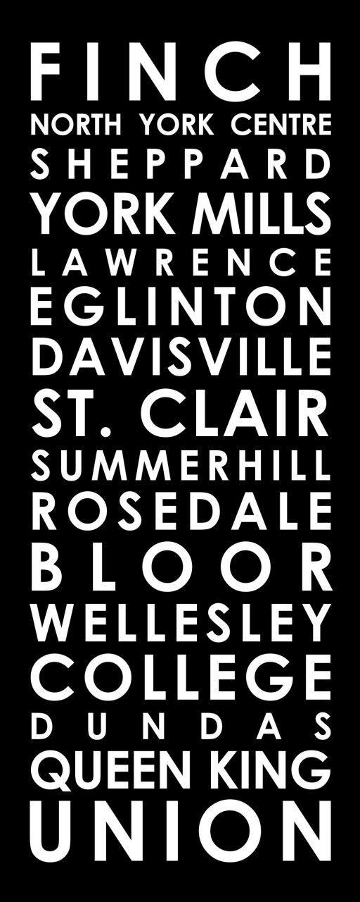 "Toronto subway sign for TTC Yonge line 18x48"" - Streetcar Prints"