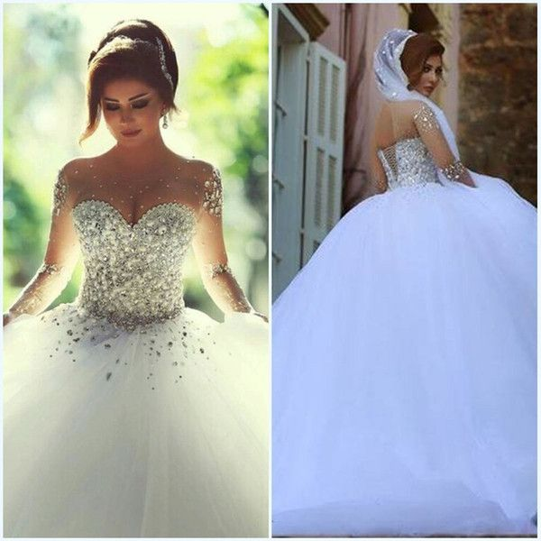 Designer Wedding Gowns Cheap: Vestidos De Noiva Silver Sequin Crystals Long Sleeves