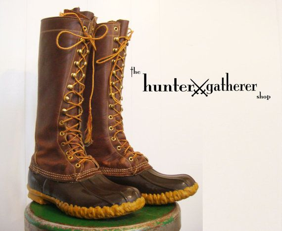 vintage ll bean duck boot tall hunting boot by thehuntergatherer vintage hunting lodge. Black Bedroom Furniture Sets. Home Design Ideas