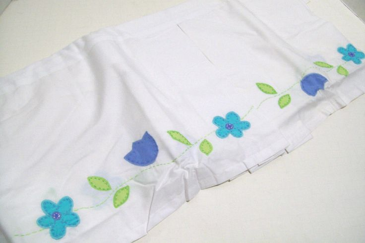 Cribskirts and Dust Ruffles 52345: Pottery Barn Kids Applique Blue Flower Baby Crib Bed Skirt Dust Ruffle New -> BUY IT NOW ONLY: $38.99 on eBay!