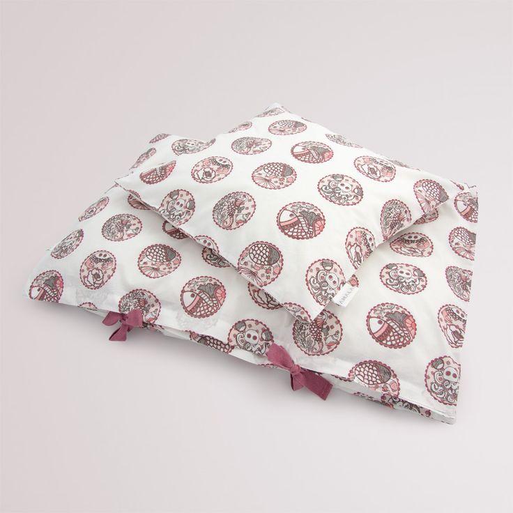 'Madhubani Pink' childrens bedding - 100% organic cotton GOTS Certified.