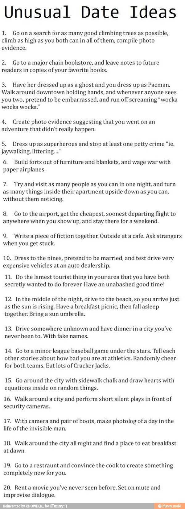 Unique date ideas.  These are definite musts for the future!!!