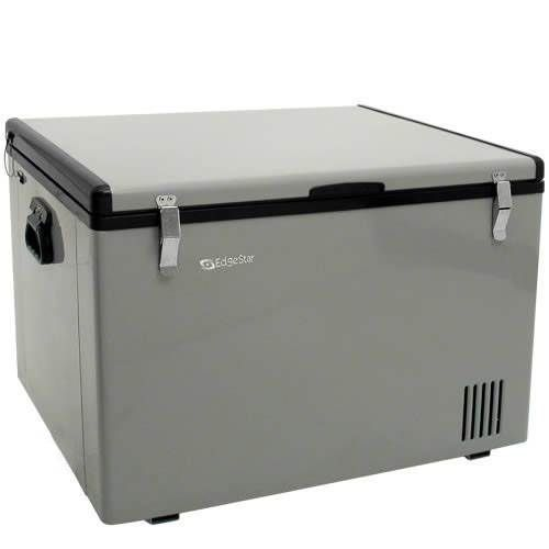 EdgeStar 63 Qt. 12V DC Portable Fridge/Freezer  They make a two section model.  Its awesome. I run it on solar.