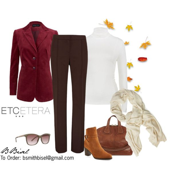 """""""Balsamic velveteen jacket, Espresso pant, Basic ivory top - Etcetera Fall Collection"""" by biseletcetera on Polyvore"""