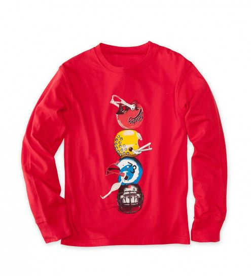 Long-Sleeve Football-Helmets-Stack Tee | CWDkids